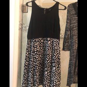 Black tan top dress with animal print bottom